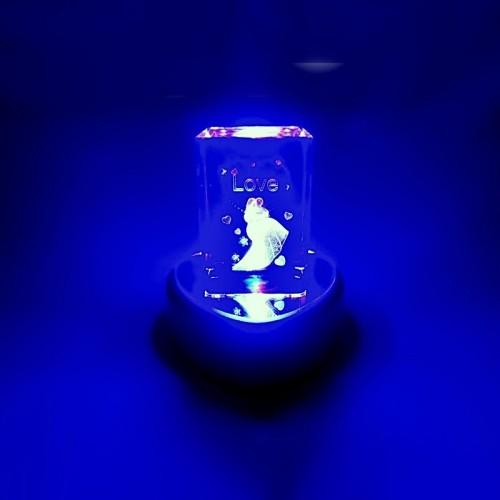 Toptan Işıklı Kristal Cam Biblo Evlilik Temalı
