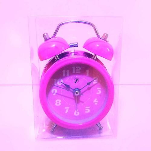 Sade Pembe Kurmalı Nostaljik Çalar Saat