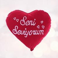 Kalp Şeklinde Seni Seviyorum Yastık