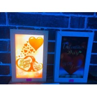 3 Boyutlu Ahşap Standlı Kalp Lamba
