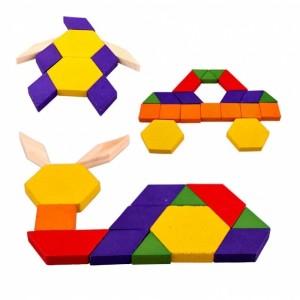 Renkli Ahşap Tangram Blok Puzzle