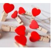 Toptan 10 Adet Ahşap Kalp Mandal Notluk