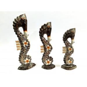 Toptan Ahşap 3 lü Deniz Atı Bibloları 35 cm