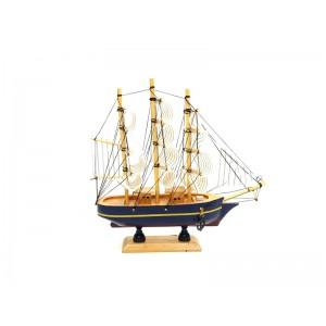 Toptan Ahşap Hediyelik Eşya Yelkenli Gemi 24 cm