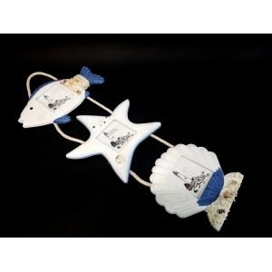 Toptan Balık İstiridye ve Deniz Yıldızı Şeklinde 3 Lü Denizci Çerçeve