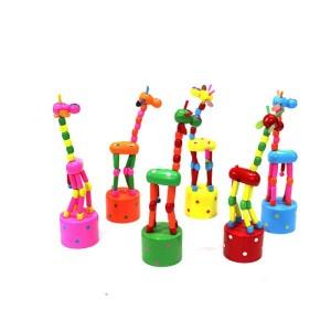 Toptan Basınca Oynayan Ahşap Zürafa Oyuncak