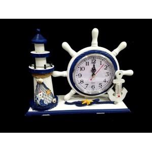 Toptan Deniz Feneri Tasarımlı Termometreli Dümen Saat