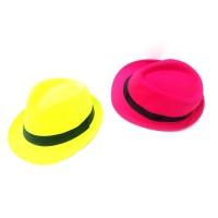 Toptan Fosforlu Renk Yetişkin Kumaş Fötr Şapka