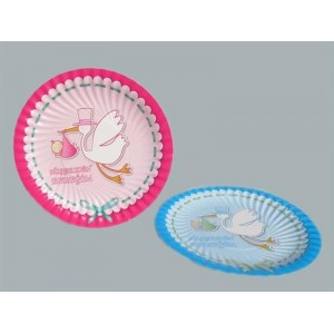Toptan Hoşgeldin Bebeğim Yazılı Karton Tabak 23 cm