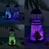 Toptan Işıklı Metal Deniz Feneri Mumluk 14 cm