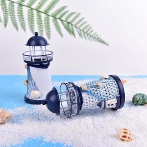 Toptan Işıksız Metal Deniz Feneri Mumluk 14 cm