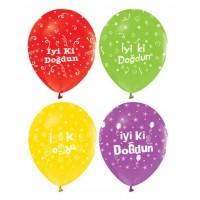 Toptan İyi Ki Doğdun Yazılı Renkli Doğum Günü Süsleme Balonları 100 adet