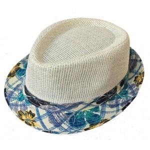 Toptan Kenarları Çiçek Kumaşlı Fötr Hasır Şapka