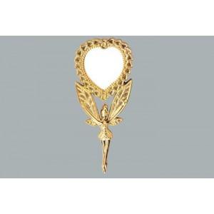 Toptan Kına Gecesi İçin Elde Tutmalı Melek Desenli Altın ve Gümüş Metal Ayna