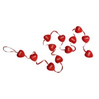 Toptan Love Yazılı Flok Kaplama Kırmızı Kalp Süs 12li