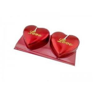 Toptan Love Yazılı Simli Kalp Mum 2 Adet