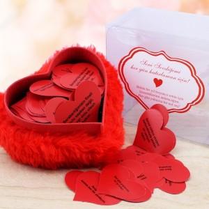 Toptan Mesajlı Kalp Peluş Hediye Kutusu