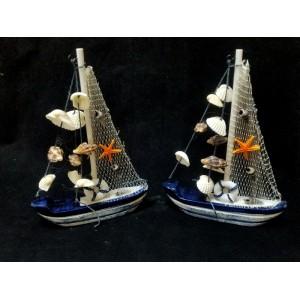 Toptan Orta Boy Balık Ağı Temalı Dekoratif Yelkenli Gemi Biblo