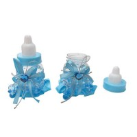 Toptan Pembe ve Mavi Süslü Biberon Kutu Bebek Şekerleri