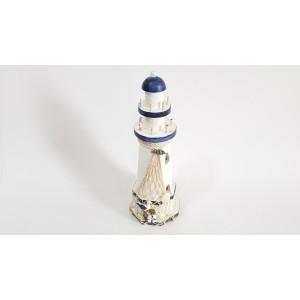 Toptan Renk Değiştiren Işıklı Ahşap Deniz Feneri 30 cm