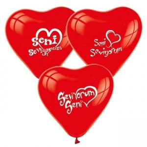 Toptan Seni Seviyorum Baskılı Balon 100 adet