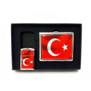 Toptan Türk Bayrağı Tasarımlı Çakmak Sigara Tabakası Seti