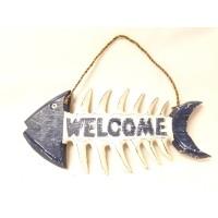 Welcome Yazılı Ahşap Balık Süs